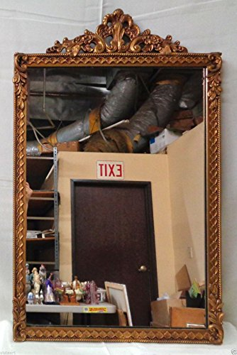 Vintage Style Gold Tinted Mirror w/ Beautiful Complexity & Decorated Top- - Tinted Mirror Gold
