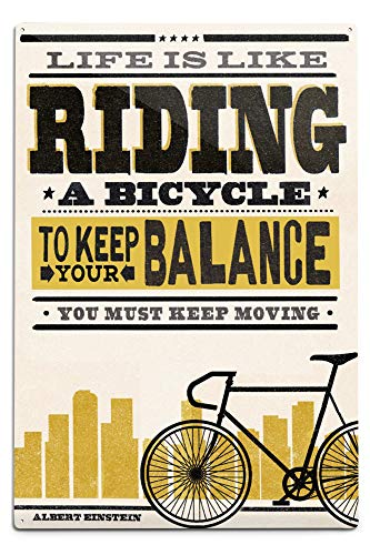 s Like Riding a Bicycle - Screenprint Style - Albert Einstein (12x18 Aluminum Wall Sign, Wall Decor Ready to Hang) ()