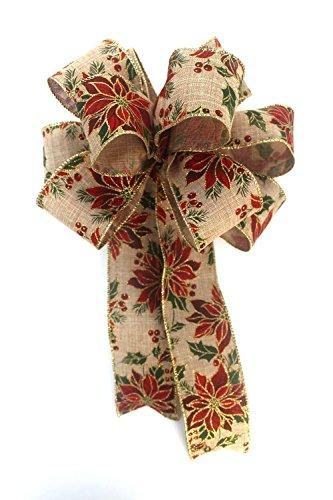 Poinsettia Burlap bow for wreaths, Christmas decoration, gift bow, gold