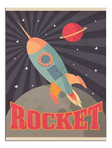 (JP London Solvent Free Art Print PAP2425 Ready to Frame Poster Retro Space Ship Rocket Flight at 24