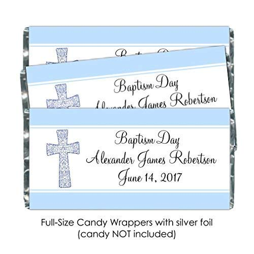 25 Baptism Candy Wrappers, Christening or Baptism Day Custom Wrappers