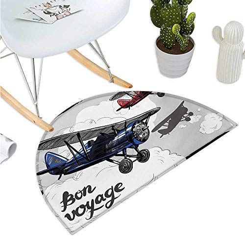 Going Away Party Semicircular Cushion Retro Airplane Poster Inspired Bon Voyage Lets Travel Fly Vintage Print Entry Door Mat H 35.4