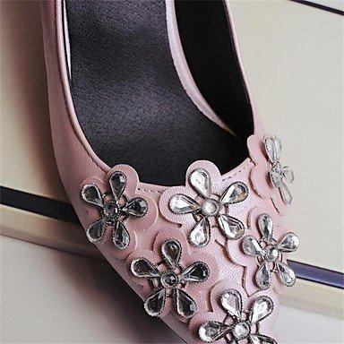 Talones de las mujeres Zapatos Primavera Verano Otoño Invierno club Comfort PU para oficina y del partido de la carrera y del vestido de noche Tacón bajo de aguja apliques de flores rosadas Negro Pink