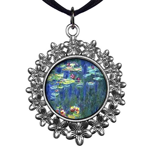 Monet Silver Necklace - GiftJewelryShop Ancient Style Silver Plate Monet Water Lilies Christmas Wreath Charm Pendant Necklace