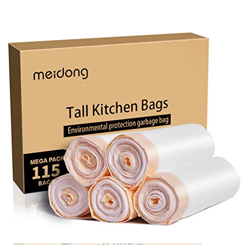 Price comparison product image Trash Bags, Meidong Garbage Bags 13 Gallon Large Tall Kitchen Drawstring Strong Bags for Trash Can Garbage Bin(5 Rolls/115 Counts)