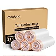 Amazon #DealOfTheDay: Trash Bags, Meidong Garbage Bags 13 Gallon Large Tall Kitchen Drawstring Strong Bags for Trash Can Garbage Bin(5 Rolls/115 Counts)