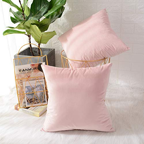 MERNETTE Pack of 2, Velvet Soft Decorative Square Throw Pillow Cover Cushion Covers Pillow case, Home Decor Decorations for Sofa Couch Bed Chair 16x16 Inch/40x40 cm (Light Pink) (Pink Cushions And White)