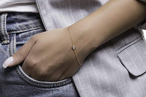 Diamond bracelet, Circle diamond bracelet, Pave diamond bracelet, Dainty diamond bracelet