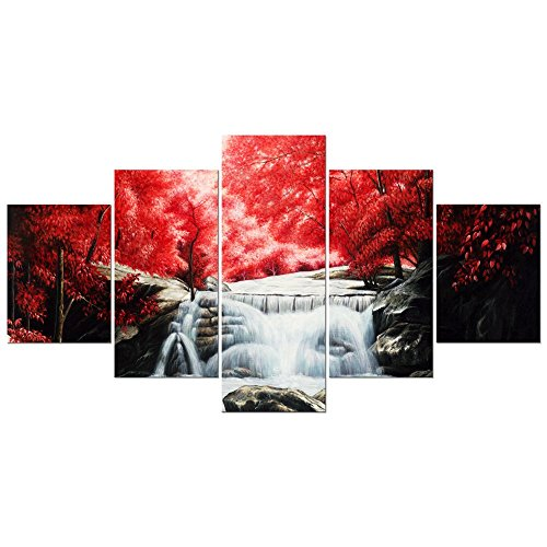 (Wieco Art Red Forest Waterfall Large 5 Panels Modern Giclee Canvas Prints Artwork Stretched and Framed Landscape Tree Oil Paintings Reproduction Pictures on Canvas Wall Art for Home Decor L)