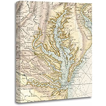 Chesapeake Bay Topographic Map.Amazon Com Chesapeake Bay 3 D Nautical Wood Chart 24 5 X 31
