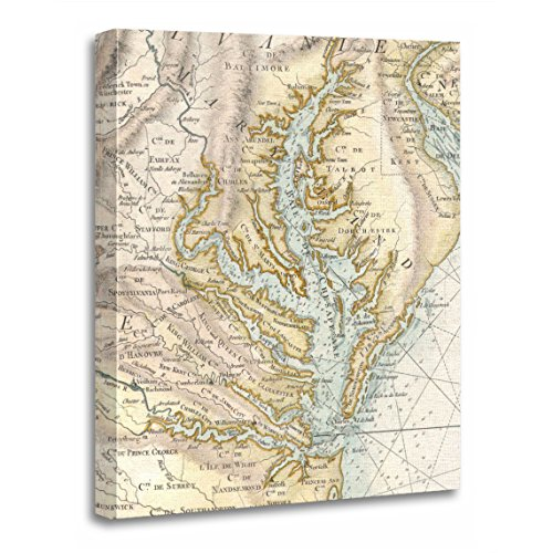 (TORASS Canvas Wall Art Print Old Vintage Map of The Chesapeake Bay Historical Artwork for Home Decor 12