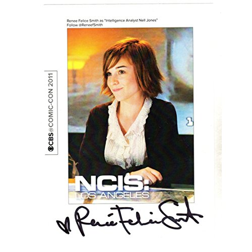 NCIS: Los Angeles (TV Series 2009 - ) 8 inch x 10 inch PHOTOGRAPH Pre-Signed Print Renee Felice Smith Black Sweater Over White Blouse kn