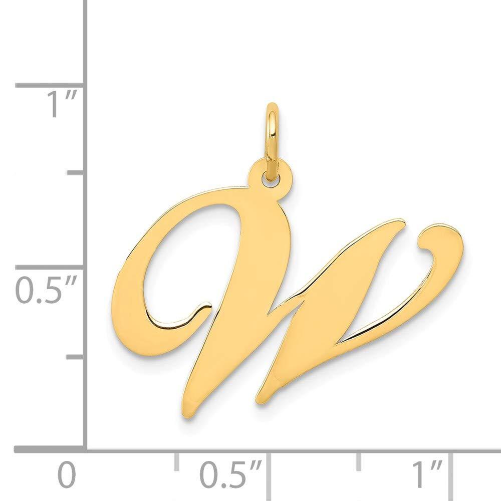 14k Yellow Gold Large Fancy Script Initial W Charm Million Charms MCQGYC654W