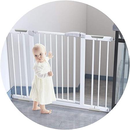 QIANDA Barrera Seguridad Niños Protector Escaleras Bebe Ajustable La Seguridad Gris Blanco Acero Fuerte Los 75-236cm | Escalera Y Puerta Puerta El | Sin Perforación El | Abierto Me Gusta Un Puerta: