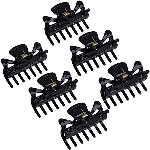 (6 Pieces Plastic Hair Clips Claw Women Hair Claw Clamps Hairpin (Black))
