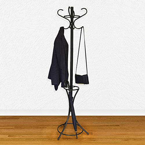 GrayBunny GB 6808 Metal Coat Rack, Hat Stand, Umbrella Holder, Hall Tree,  Black, For Home Or Office, PARENT