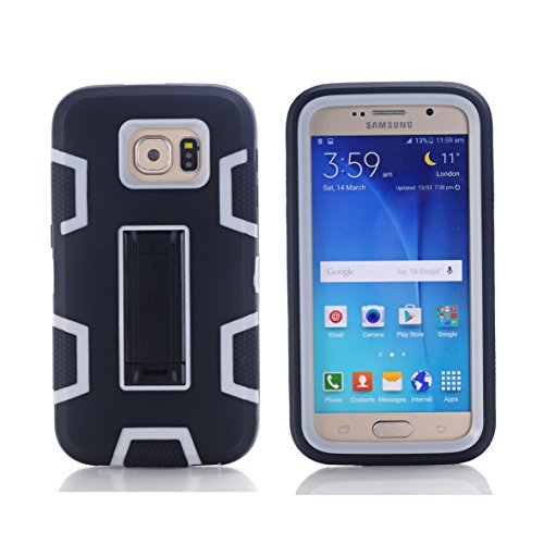Galaxy S6 Case, SinYong [Kickstand Feature]-Hybrid Defender Rugged Shockproof Dirt proof Case Cover for Samsung Galaxy S6 (Black+Grey)