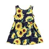Summer Cotton Girl's Vest Cherry Blossom Girl Dress (Sunflower&b, 7-8years)