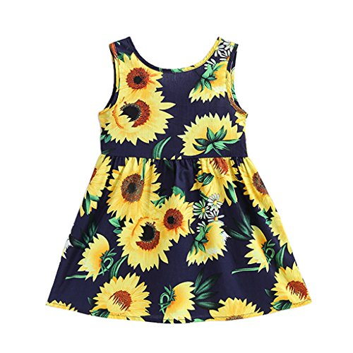 Summer Cotton Girl's Vest Cherry Blossom Girl Dress (Sunflower&b, 7-8years) by MiaoQL
