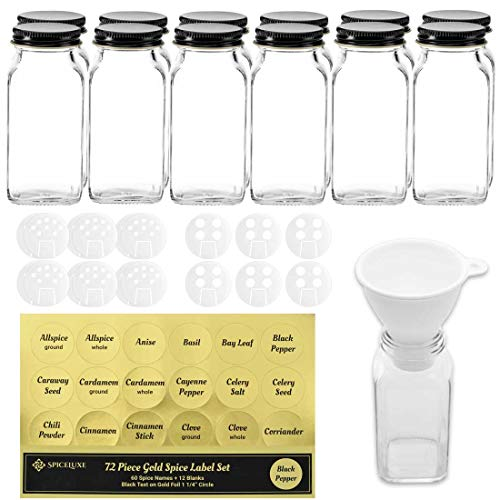 Deluxe Large Spice Jar Set -12 Square Glass 6 oz Spice Bottles, 72 Premium Labels, 18 Shaker Tops, Quality Black Steel Caps and No Clog Wide Spice Funnel by SpiceLuxe