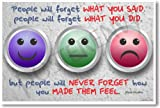 People Will Forget What You Said, People Will Forget What You Did, but People Will Never Forget How You Made Them Feel. Maya Angelou - Classroom Motivational Poster