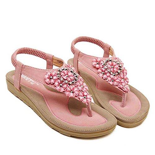 SKY Comfortable to wear it !!! Mujeres Sweet Sweet Flats Clip Toe Flats Bohemian Herringbone Sandalias Zapatos de Playa Rosado