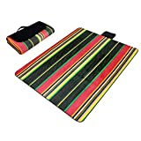 Striped Paided Portable Picnic Blanket Waterproof Beach Mat Outdoor Camping Moistureproof Gift 200 200cm / 78.74 78.74in