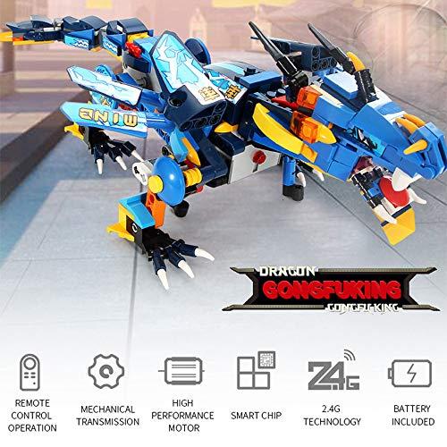 LtrottedJ DIY Building Blocks Walking RC Smart Dinosaur Electronic Robot STEM Toy for Kids (Blue)