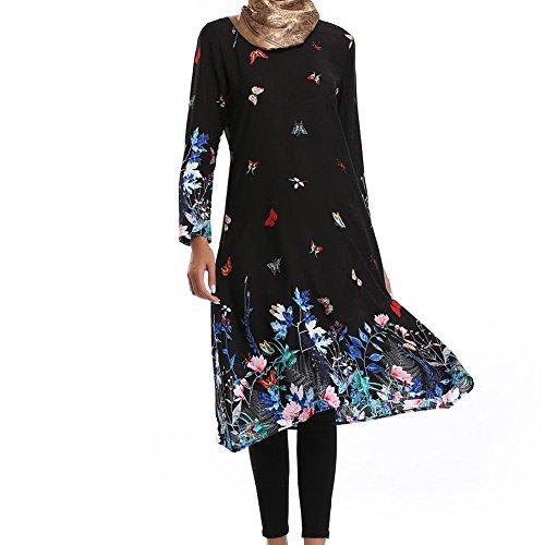 Zhuhaixmy Muslim Damen Kirche Gebet Kleid Hui Minderheiten Ethnische Kleidung Lose Robe Drucken Kaftan Lange Ärmel islamisch Türkei Arabien Abaya,077# Schwarz