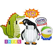 "Intex Inflatable Animal Riders Pool Floats Alligator & Penguin Gift Set Bundle with Bonus ""Matty's Toy Stop"" 16"" Beach Ball - 2 Pack"