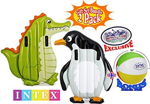 Intex Inflatable Animal Riders Pool Floats Alligator & Penguin Gift Set Bundle with Bonus