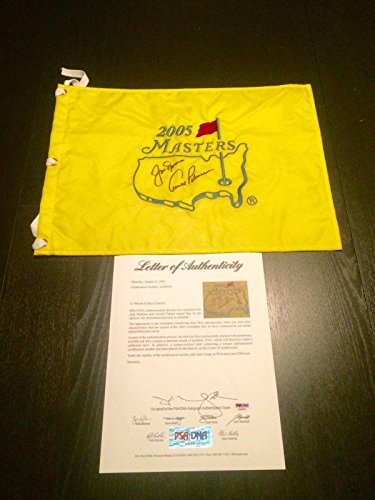 Jack Nicklaus & Arnold Palmer Dual Hand Signed 2005 Masters Flag Letter - PSA/DNA Certified - Autographed Golf Pin Flags (Autographed Masters Pin Golf Flag)