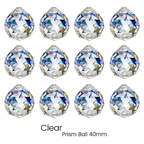 KARSLORA Clear Glass Crystal Ball Prism Rainbow Maker Feng Shui Lamp Hanging Drop Chandelier Pendants Window Suncatchers (40MM Pack of 12)