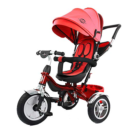 Little Bambino 4 in 1 Canopy Kids Tricycle for Toddler Age 1-6 Years | Trike 'n Ride Bike Push Handle Buggy Pram (Red)