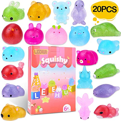 LEEHUR 3rd Genaration 20pcs Mochi Glitter Squishies Toys Kids Birthday Party Favors Mini Kawaii Animal Squishy Squeeze Adult Stress Reliever School Prizes