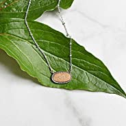 Peach Geode Druzy Oval Pendant Sterling Silver Necklace Jewelry Gift for Women