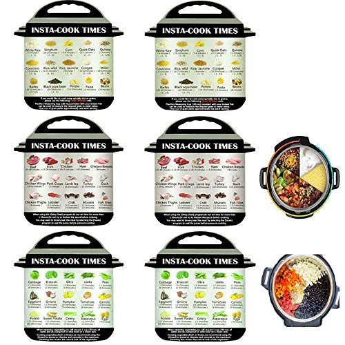 ies-6 Pieces Instant Pot Cheat Sheet Magnets, Colored Textual Description and Food Images Cooking Times for 45 Common Prep Functions, Food Cooking Magnetic Sheet for Instant Pot ()