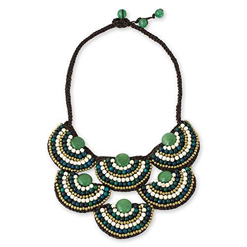 (NOVICA Multi-Gem Green Quartz Brass Beaded Necklace, 17