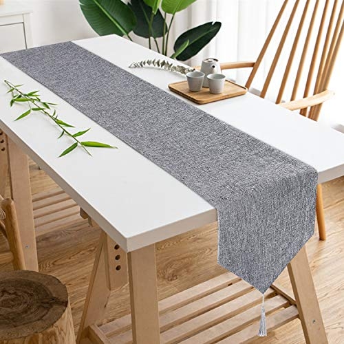 Smurfs Yingda Gray Burlap Table Runner with Tassels, Natural Retro Simple Style Table Runner Imitated Linen Table Runner for Catering Events, Daily Use, Indoor and Ourdoor Parties, 12 × 70 inches
