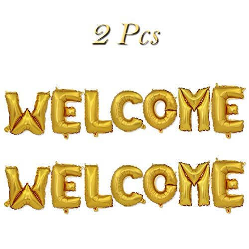 Welcome Foil Balloons Welcome Letters Mylar Balloon Banner for Wedding/Birthday/Bridal Shower/Bachelorette/New Year/Graduation Party Decorations, 16 Inch, Set of 2(Gold) -
