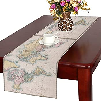 InterestPrint Vintage World Map Long Table Runner 16 X 72 Inches, Retro Map  Of World