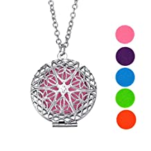 """VALYRIA Thread Hollowed-out Ball Essential Oil Diffuser Necklace Locket Pendant with 18""""+2"""" Chain 6 Refill Beads"""