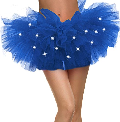 Blue Tutu Women's LED Light Up Neon 5 Layered Tulle Tutu Skirt, Royal Blue -