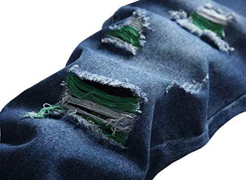 51J9uFbW1PL. AC LAMKUKU Men's Ripped Jeans Slim Fit Casual Distressed Denim Pants    Product Description