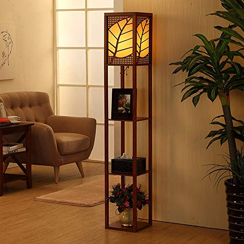 PNYGJLDD Retro Shelf Floor Lamp Modern Standing Light for Living Rooms & Bedrooms Wooden Frame with Open Box Display Shelves 901010 inch (Color : Walnut, Size : A)