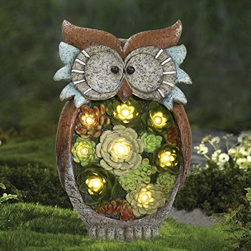 Garden Statue Owl Figurine - Resin Statue with Solar LED Lights for Patio Yard Art Decor Lawn Ornaments, Fall Winter Outdoor Christmas Decorations, 10.5 x 6 Inch, Housewarming Gift (Art And Yard Patio)