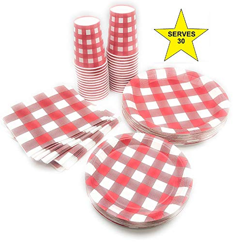 Paper Gingham Plates - Serves 30 | Complete Party Pack | Red Gingham Red & White Checkered | 9