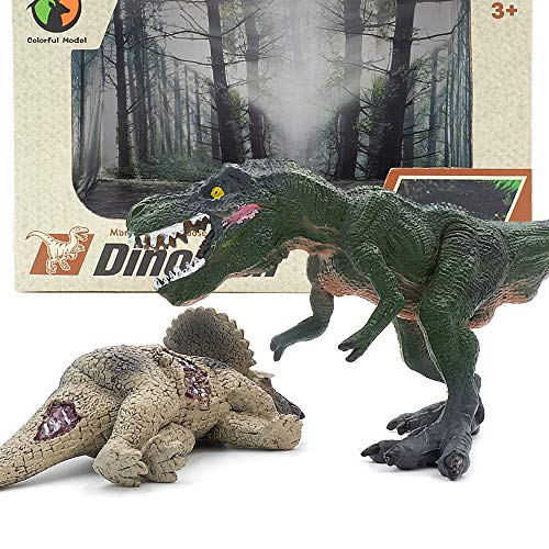 Milaski Dinosaur Figures,2 Pack,Realistic Dinosaur Toys 6.5-7.2 Inch Jurassic Dinosaur Figurine Set for Dinosaur Lovers,Kids' Edu,Birthday Present or Party Favor-(Tyrannosaurus,Horned Dragon)
