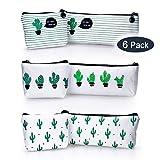 6 Pcs Cactus Pencil Case - Pattern Canvas Pencil Bag for Students, Zipper