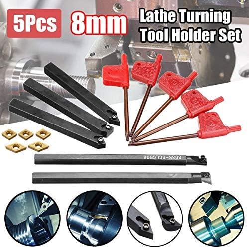 NO LOGO ZDX-CHEXIAODJ, 5 stücke 8mm Schaft Drehmaschine Drehwerkzeughalter mit CCMT060204 DCMT070204 Wendeschneidplatten for CNC Maschine (Size : 8mm)